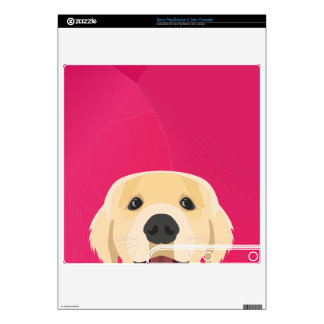 Illustration Golden Retriver with pink background Decal For PS3 Slim