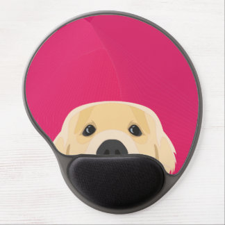 Illustration Golden Retriver with pink background Gel Mouse Pad