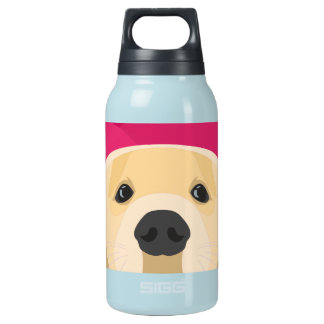Illustration Golden Retriver with pink background Insulated Water Bottle