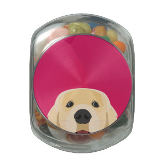 Illustration Golden Retriver with pink background Jelly Belly Candy Jar