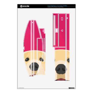 Illustration Golden Retriver with pink background PS3 Decal