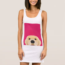 Illustration Golden Retriver with pink background Sleeveless Dress
