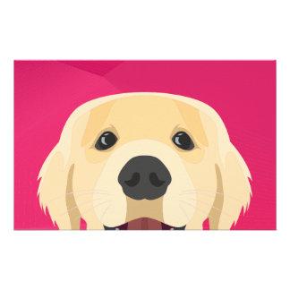 Illustration Golden Retriver with pink background Stationery