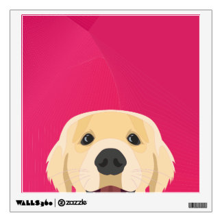Illustration Golden Retriver with pink background Wall Sticker