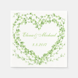 Illustration green leaves Wreath Wedding Customize Paper Napkin