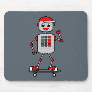 Illustration Grey Robot Boy on Skateboard Mouse Pad