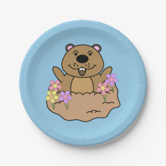 Illustration Groundhog with Flowers Paper Plate