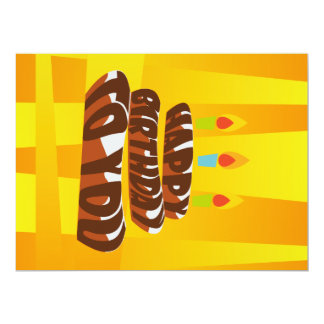 Illustration Happy Birthday Cake with Candles Card