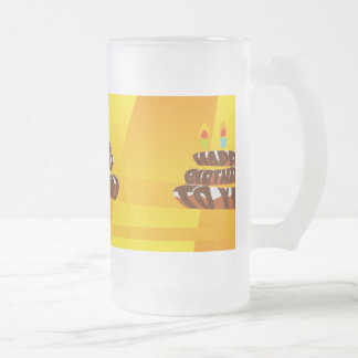 Illustration Happy Birthday Cake with Candles Frosted Glass Beer Mug