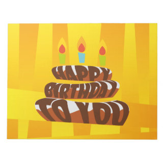Illustration Happy Birthday Cake with Candles Notepad