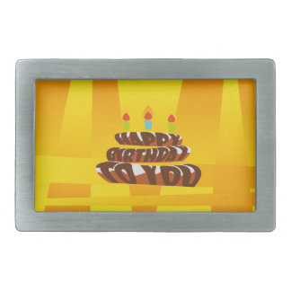 Illustration Happy Birthday Cake with Candles Rectangular Belt Buckle