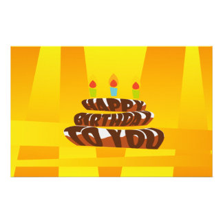 Illustration Happy Birthday Cake with Candles Stationery