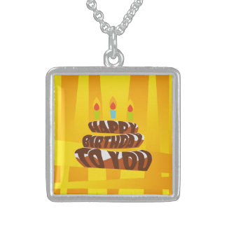 Illustration Happy Birthday Cake with Candles Sterling Silver Necklace