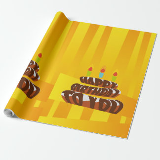 Illustration Happy Birthday Cake with Candles Wrapping Paper