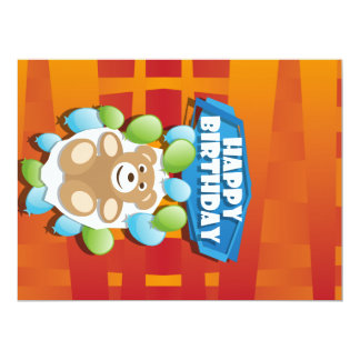 Illustration Happy Birthday teddy with ballons Card