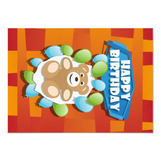 Illustration Happy Birthday teddy with ballons Card