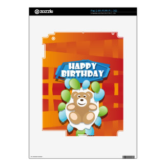 Illustration Happy Birthday teddy with ballons iPad 2 Decal