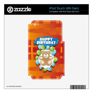 Illustration Happy Birthday teddy with ballons iPod Touch 4G Decal