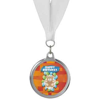Illustration Happy Birthday teddy with ballons Medal