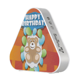 Illustration Happy Birthday teddy with ballons Speaker