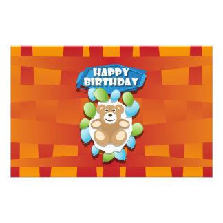 Illustration Happy Birthday teddy with ballons Stationery