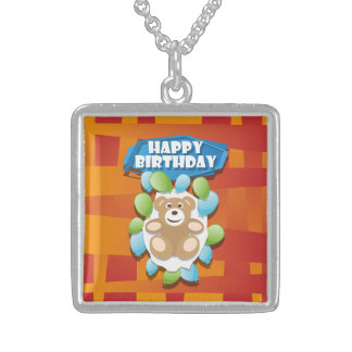 Illustration Happy Birthday teddy with ballons Sterling Silver Necklace