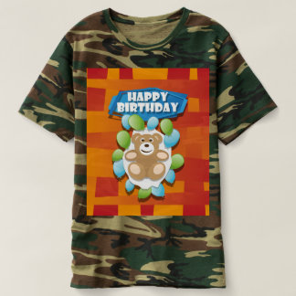 Illustration Happy Birthday teddy with ballons T-shirt