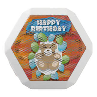 Illustration Happy Birthday teddy with ballons White Bluetooth Speaker