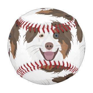 Illustration happy dogs face Border Collie Baseball