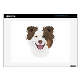 Illustration happy dogs face Border Collie Decal For Acer Chromebook
