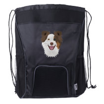 Illustration happy dogs face Border Collie Drawstring Backpack