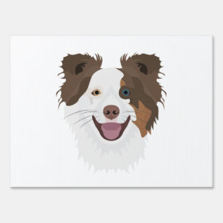 Illustration happy dogs face Border Collie Sign