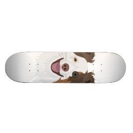 Illustration happy dogs face Border Collie Skateboard Deck