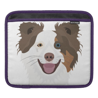 Illustration happy dogs face Border Collie Sleeve For iPads
