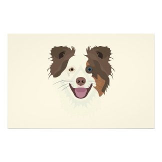 Illustration happy dogs face Border Collie Stationery