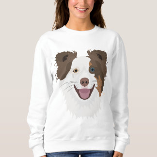 Illustration happy dogs face Border Collie Sweatshirt