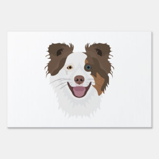 Illustration happy dogs face Border Collie Yard Sign