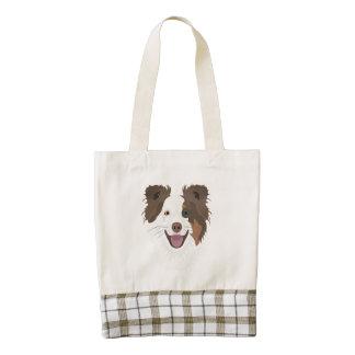 Illustration happy dogs face Border Collie Zazzle HEART Tote Bag