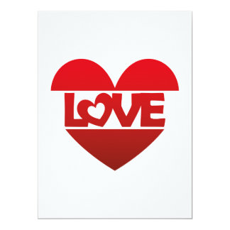 Illustration Heart with lettering LOVE in red Card