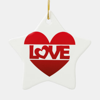 Illustration Heart with lettering LOVE in red Ceramic Ornament