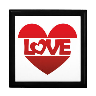 Illustration Heart with lettering LOVE in red Keepsake Box
