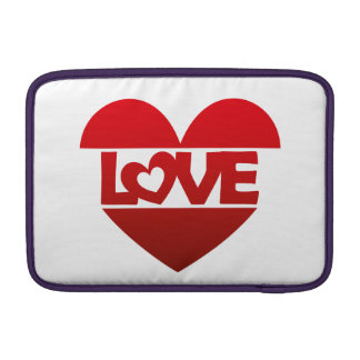 Illustration Heart with lettering LOVE in red MacBook Sleeve