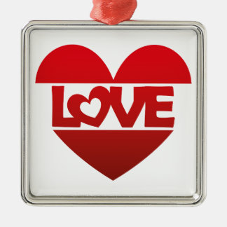 Illustration Heart with lettering LOVE in red Metal Ornament