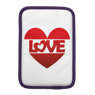 Illustration Heart with lettering LOVE in red Sleeve For iPad Mini