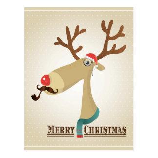 Illustration Hipster Reindeer Merry Postcard
