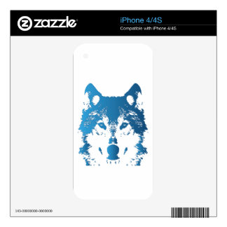 Illustration Ice Blue Wolf Decals For The iPhone 4