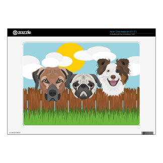 Illustration lucky dogs on a wooden fence acer chromebook skin