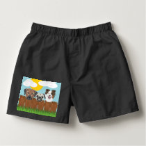 Illustration lucky dogs on a wooden fence boxers