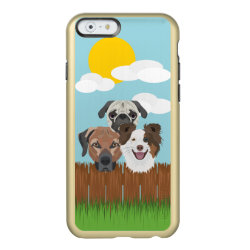 Illustration lucky dogs on a wooden fence incipio feather shine iPhone 6 case