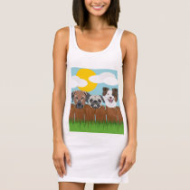 Illustration lucky dogs on a wooden fence sleeveless dress